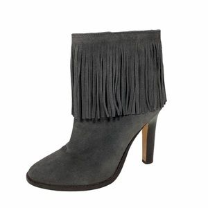 JOIE | Leather Suede Heeled Ankle Boots Gray SZ 40